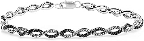0.20 Carat (ctw) Round Black & White Diamond Ladies Infinity Tennis Link Bracelet 1/5 CT, Sterling Silver (7 Inch Length X 0.33 Inch Wide)
