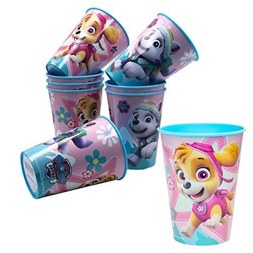 JuniorToys Juego de 6 vasos de la Patrulla Canina de 230 ml con Skye y Everest, ideal como regalo para cumpleaños infantiles, diseño estable de plástico