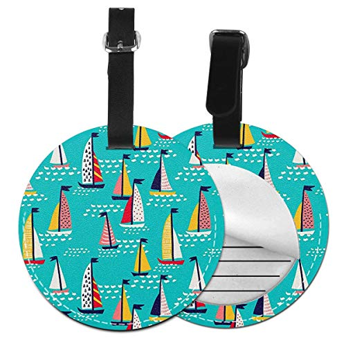 Luggage Tags Colourful Sailing Boats Suitcase Luggage Tags Business Card Holder Travel Id Bag Tag