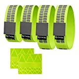 EvoLike Premium Reflective Wristbands/Belt/Armbands/Ankle Bands (4 Pack / 2 Pairs + 60 pcs Free Reflection Stickers Included) Yellow/Green