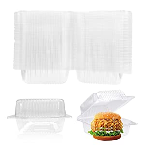 100 Pack Clear Plastic Square Hinged Food Container,Clear Plastic Take Out Containers,Clamshell Sandwich–Cake–Dessert–Pastry Treat Boxes,Keep Food Secure and Fresh