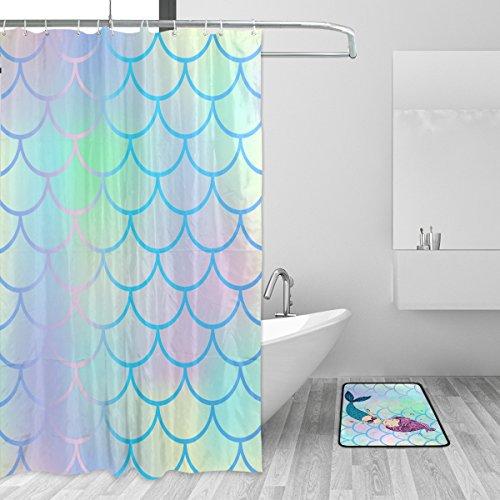 Bright Fish Scale Beautiful Mermaid Shower Curtain