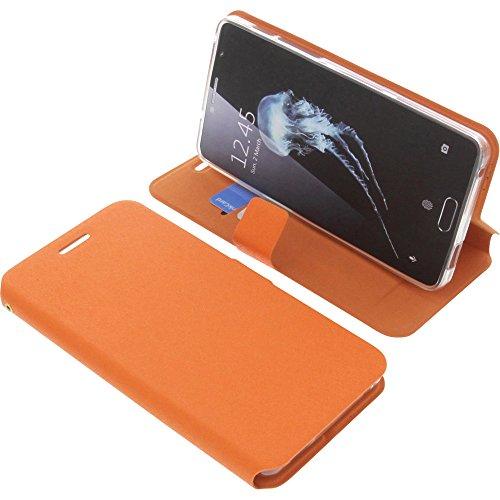 foto-kontor Tasche für Alcatel Flash Plus 2 Book Style orange Schutz Hülle Buch