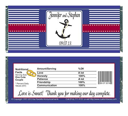 Nautical Theme, Anchor or Boat Wedding Candy Bar Wrappers (set of 12)(W711)