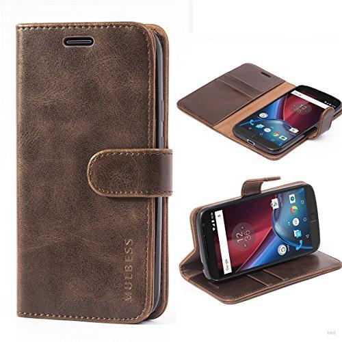 Mulbess Handyhülle für Moto G4 Play Hülle, Leder Flip Case Schutzhülle für Motorola Moto G4 Play Tasche, Vintage Braun