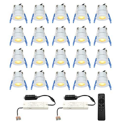 HOFTRONIC - 20x dimmbarer Milano Mini LED Einbaustrahler IP65 2700K Warmweiß CREE Deckenspots Einbauleuchte Aluminium ideal für Terrassendach, Bad, Dusche
