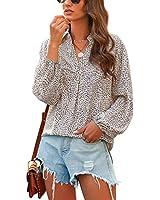 LookbookStore Women's Casual Summer Apricot Leopard Print Long Balloon Sleeve V Neck Blouse Lightweight Chiffon Loose Tops Shirt Size XL