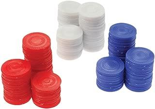 PAVILIA Plastic White Poker Chips Card Game (Bag of 100)