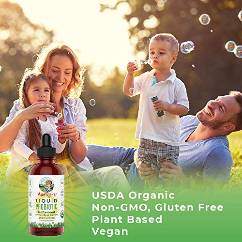 Organic Liquid Probiotics by MaryRuth's (Plant-Based) - Men Women Kids Babies Toddlers - Non-GMO Vegan RAW Paleo - 12 Live strains of Flora w/acidophilus probiotic for Digestion 4oz Glass 4