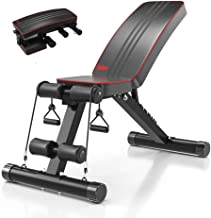 Yoleo Adjustable Weight Bench - Utility Weight Benches for Full Body Workout, Foldable Flat/Incline/Decline FID Bench Pres...