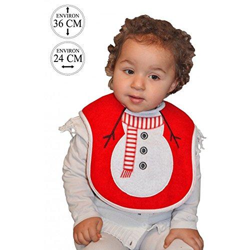 Lively Moments Bavoir pour bébé rouge avec corps du bonhomme de neige / bavoir de Noël / bavoirs pour bébé en rouge