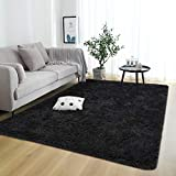 Rostyle Super Soft Fluffy Area Rugs for Bedroom Living Room Shaggy Floor Carpets Shag Christmas Rug for Girls Boys Furry Home Decorative Rugs, 5 ft x 8 ft, Black
