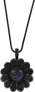 Sole Fiore zircone Collana Hip Hop Full zircone Fiori Colorati Rotante Hiphop Moda Ciondolo Ornamento Chic,Black