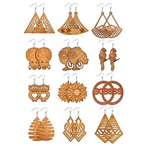 SOFEA Pendientes de moda, 12 pares de pendientes de madera africana con colgante de madera bohemia