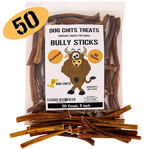 Dog Chits Bully Sticks | 50 Count | 5 inch | Premium Grade | Odorless | All Natural | GrassFed | Great for Dogs and Puppies | Long Lasting Chew | Fully Digestible | High Protein