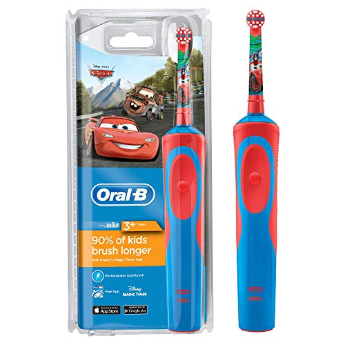 Oral-B Stages Power Kids Electric Rechargeable Toothbrush Featuring Disney Pixar Cars Characters, 1 Handle, 1 Brush Head, UK 2 Pin Plug, Ages 3+ (Packaging May Vary), Brush Away Easter Egg Treats