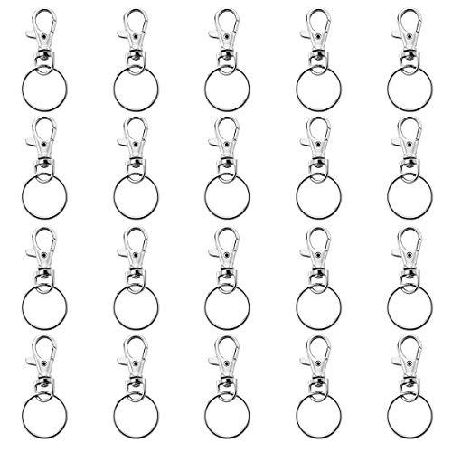 VORCOOL 20 Sätze von Swivel Karabiner Haken mit Schlüsselanhänger Schlüsselanhänger 25mm (Silber)