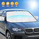 AURELIO TECH Car Windshield Sun Shade Cover, Block UV Rays, 4 Layers Protection, with Mirror Covers, 59'x48' Extra Large, Fits Most Cars, SUVs, Minivans