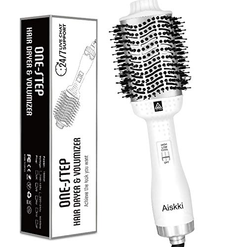 Aiskki Multifunktionaler Haartrockner,5 In 1 Hair Dryer & Volumizer Styler mit Negativer Lonic Föhnen Stylingbürsten für alle Styling