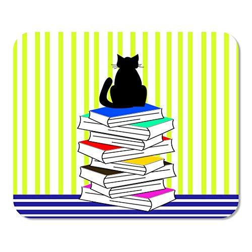 Mousepad Computer Notepad Office Abstrakte Katzenbücher Linien Tierastrologie Schöne schwarze Buchhandlung Home School Game Player Computer Worker Inch