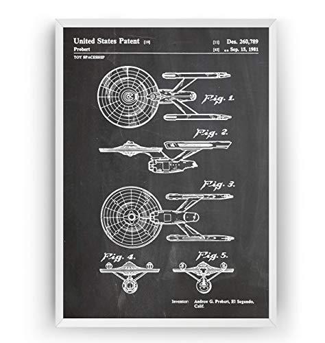 Star Trek USS Enterprise 1981 Patent Poster - Giclee Print Art Kunst Wall Dekor Decor Entwurf Wandkunst Blueprint Geschenk Gift - Frame Not Included