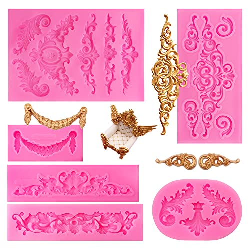 6PCS Baroque Style Curlicues Scroll Lace Fondant Silicone Mold Filigree Mold 3D Sculpted Flower Cake Molds for Decorating Candy Polymer Clay Sugar Craft