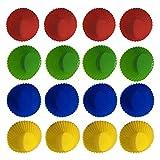 Mopoin 16 pirottini per muffin in silicone, riutilizzabili, ecologici, in silicone antiaderente, per muffin, cupcake, feste, Halloween, Natale
