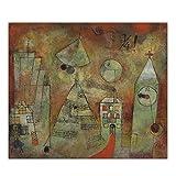 ZNNHEROPaul Klee Lienzo Pintura Al Óleo Hora Fatídica Una Torre del Reloj Cartel De Arte Occidental Pared Estética Telón De Fondo Decoración De La Habitación del Hogar-60X70Cmx1 Sin Marco