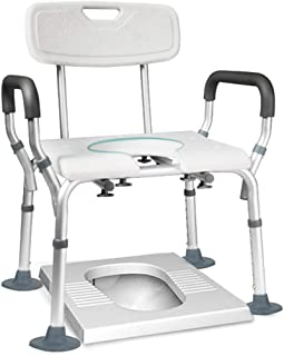 LZLYER Shower Chair Toilet Bathtub Portable Bedside Commode Chair,Adjustable Height Shower Toilet Chair,for Disabled Person, Elderly,Pregnant Women