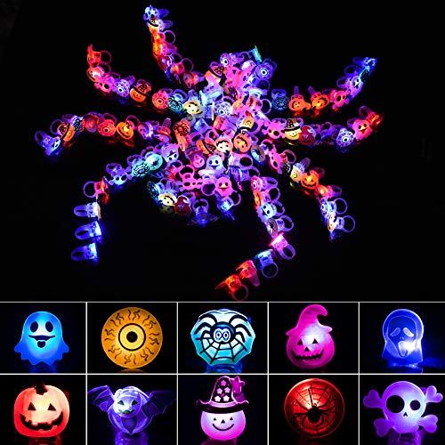 Joyjoz Halloween Party Favors 50 PCS LED Flash Rings for Kids & Adults, Glow in The Dark Halloween Party Supplies Non Candy Halloween Treats Goodie Bag Fillers