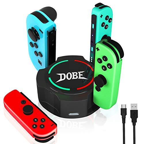 Switch Joy Con Ladestation, Likorlove Ladegerät Kompatibel mit Nintendo Switch Zubehör Joy Con 4 Slots Konsole Controller Lade Docking Ständer Stabilem mit LED Anzeige Ladeanzeige und Typ C USB Kabel