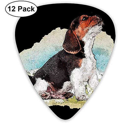 Gitarrenplektren, Motiv Beagle mit Schmetterling, 12 Stück