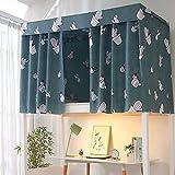 Taloit Cortina de cama para dormitorio de estudiante, cortina impresa para cama compartida con cuerda y cierre de tela para cama individual de 4/4.5 pulgadas.