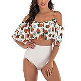E-girl Bikini para mujer con volantes, espalda descubierta, bañador de dos piezas, secado rápido, S1992, Blanco, 40