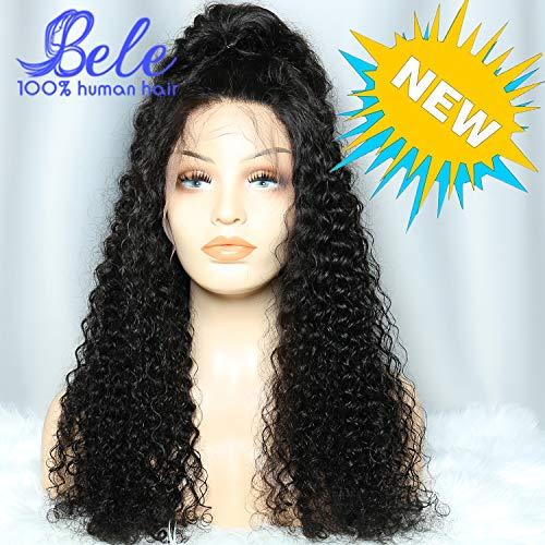 Bele 10A curly wave perruques de cheveux humains pré-plissé 150% de densité deep wave perruque lace front(24 pouces, noir naturel)