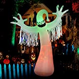 SEASONJOY 10 Ft Halloween Inflatables Ghost Decorations, Built-in Orange LED Lights with Flame Effect, Outdoor Halloween Inflatables for Yard Lawn Garden Decor