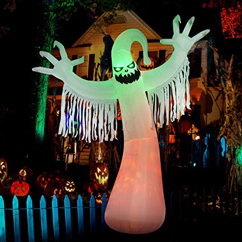 SEASONJOY 10 Ft Halloween Inflatables Ghost Decorations, Built-in Orange LED Lights with Flame Effect, Outdoor Halloween…