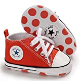 Save Beautiful Baby Girls Boys Canvas Sneakers Soft Sole High-Top Ankle Infant First Walkers Crib Shoes (0-6 Months Infant, A10-orange)