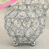 VINCIGANT Silber Schüssel Kristall Kerzenhalter für Couchtisch Dekoration Tabelle Kernstück Hochzeit Feier,Durchmesser 8cm - 2