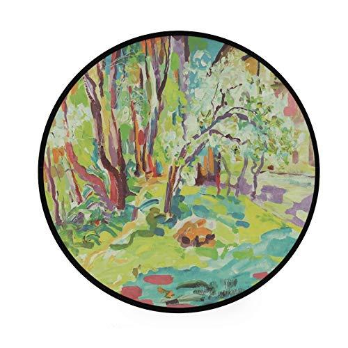 JUMBEAR Alfombra de pintura al óleo redonda de área grande antideslizante para el suelo de los niños, alfombra decorativa para la cocina, salón, comedor, dormitorio, sala de juegos, dormitorio 91,4 cm