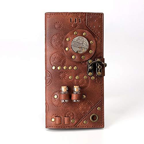 Luanchengnuanxing Steampunk Lange Geldbörse, Industrielle Retro-Geldbörse, Clutch Wallet, Braun, 18,7 * 9,5 * 3 cm Mode