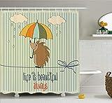 oooooo Cotizaciones Colección Erizo con Paraguas bajo la Lluvia y la Frase La Vida es Bella Siempre patrón de Decon Naranja Blanco Azul Bronceado 183 * 183CM