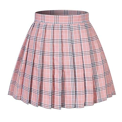 Women`s Plaid Scottish Tartan Pleated Skirts School Uniform(XL,Pink Mixed White Black)