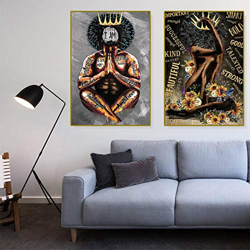 Black King Praying Poster Mindset is Everything Wall Art Queen Poster I Am Greatness Focused Leader Empowered Vertical Poster African American Wall Art Black Queen Girl Portrait and Sunflowers