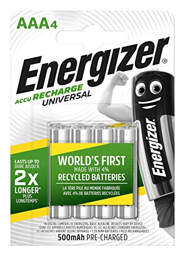 Energizer E301375700 NimH-Akku Rechargeable Universal Micro (1,2Volt 500mAh, vorgeladen 4er-Packung) Silber