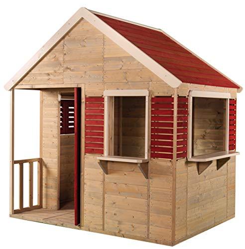 Wendi Toys M12 Summer Villa | Casa infantil de madera roja para exterior | Casa de juegos de jardín de verano para la actividad