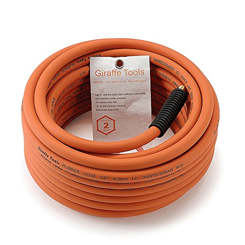 Rubber Air-Hose, 3/8 in. x 50 FT.1/4 in. MNPT Fittings,Air Compressor Hose, 300 PSI Industrial Non-Kinking Flexible Hose by Giraffe
