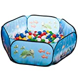 aussergewoehnlich® pop up Unterwasserwelt Babypool Bällebad + 200 Bunte Bälle in 10 Farben - Kinderspielzeug