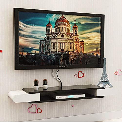 Estante de pared flotante negro mueble de TV mueble de TV decodificador estante consola de TV gabinete de almacenamiento caja de cable de DVD estante de almacenamiento/A / 150×24×10.6cm