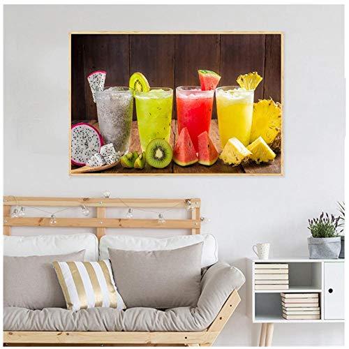 Ywsen Food Poster Nordic Style Slaapkamer Decor Fruit Sap Thee Citroen Wortel Keuken Muur Art Woonkamer Decoratie Cuadros Decoratie (geen frame) 60x80cm